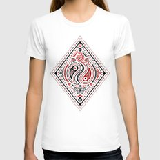 83 Drops - Diamonds (Red & Black) Womens Fitted Tee White SMALL