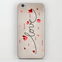 Love, Butterfly Hearts & Text Unique Valentine iPhone & iPod Skin