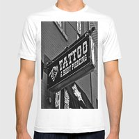 Tattoos Here Mens Fitted Tee White SMALL