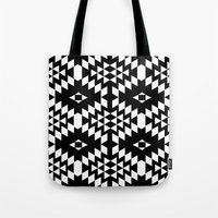 Aztec Inspired Pattern White & Black Tote Bag