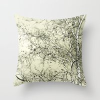 Sycamore Tree, Inky Green Toile Version Throw Pillow