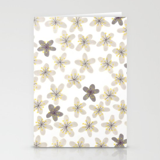 Grey and yellow flowers  Stationery Card