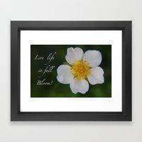 White Strawberry Flower Framed Art Print