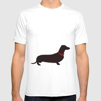Dachshund Dog Mens Fitted Tee White SMALL