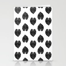 Leaf tropical linocut blockprinted stamp leaves black and white minimal modern pattern art print Stationery Cards