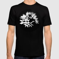 B&W Flower  Black Mens Fitted Tee SMALL