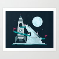 Penguin Space Race Art Print