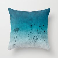 Blue Floral ~ Silhouette… Throw Pillow