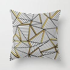 Ab Lines 2 White Gold Throw Pillow