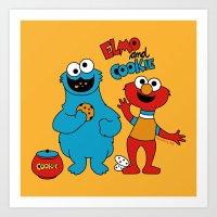 Elmo & Cookie Fan Art Art Print