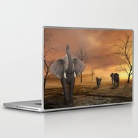 elephants Laptop & iPad Skins featuring Elephants by Susann Mielke