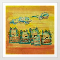 Singing Cats Art Print