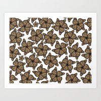 butterfly flowers Art Print