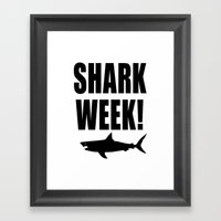 Shark week (on white) Framed Art Print