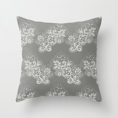 White on Grey Lace Throw Pillow
