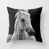 Enegetic White Horse Throw Pillow