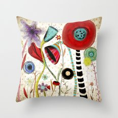 Vintage Rustic Wonderland Flowers Throw Pillow