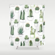 Watercolour Cacti And Su… Shower Curtain