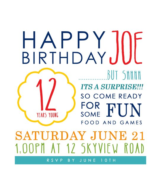 Birthday Invitation - Customizable Art Print