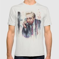 Nicolas Cage Mens Fitted Tee Silver SMALL