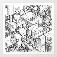 Robots Playing Sketch Art Print