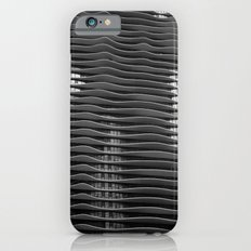 Wavy/Aqua Building Photo, Chicago, Architecture, Black and White iPhone 6 Slim Case