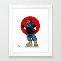 Street Samurai Series - Blue Framed Art Print