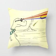 Hipster Laser Dinosaur Throw Pillow