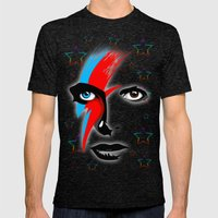 Bowie's Eyes Mens Fitted Tee Tri-Black SMALL