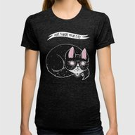 Home Is Where My Cat Is Womens Fitted Tee Tri-Black MEDIUM