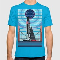 Never Give Up ! Oracle Team USA America's Cup Mens Fitted Tee Teal SMALL