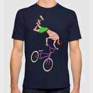 BMX Freestyle Mens Fitted Tee Navy SMALL