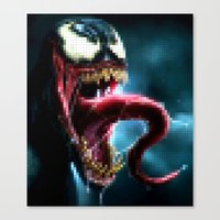 Venom : Pixel Head Canvas Print