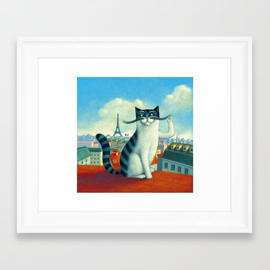 A cat in Paris Framed Art Print