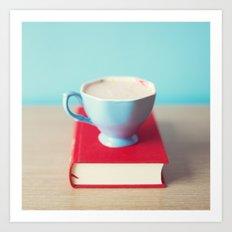 Reading On Coffee Art Print