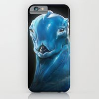 iPhone Cases featuring BLUE alien by Ben Mauro