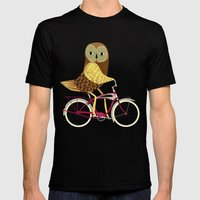 Owl Bicycle Mens Fitted Tee Black SMALL