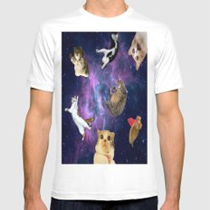 Cats in Space White SMALL Mens Fitted Tee