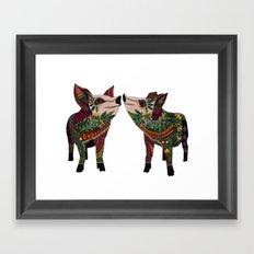 pig love white Framed Art Print