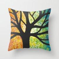 Stencil Tree Canvas Throw Pillow