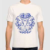 Cat Damask Mens Fitted Tee Natural SMALL