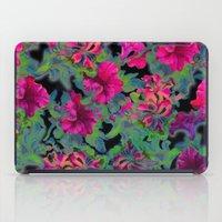 vivid pink petunia on black background iPad Case