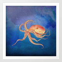 Octopus Blue Art Print