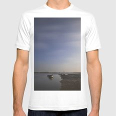 Moonlight on boats under a star filled sky. Brancaster Staithe, Norfolk, UK. White Mens Fitted Tee SMALL