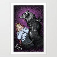 Red Riding Hood-Wolf Att… Art Print