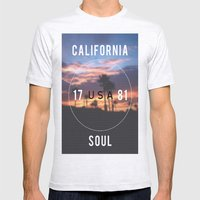 California.  Mens Fitted Tee Ash Grey SMALL