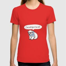 Hipster polarbear Womens Fitted Tee Red SMALL