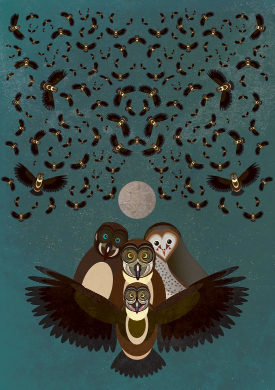 Owls in the Sky Art Print