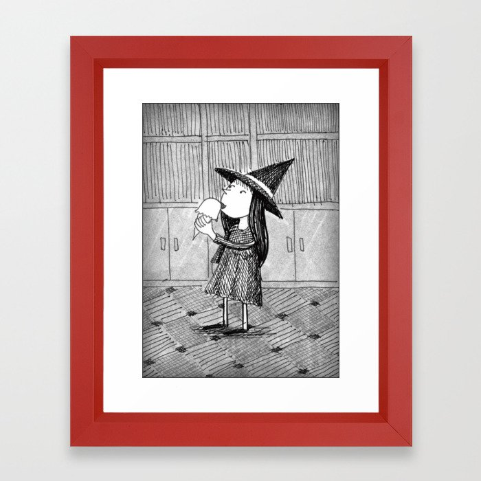 Framed Little Witch Illustration