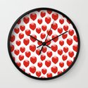 Strawberries - trendy fresh tropical fruit vegan vegetarian juice juicing cleanse Wall Clock